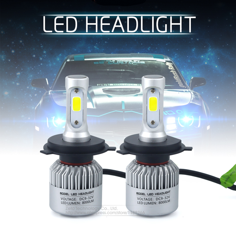 2x H4 HB2 9003 8000Lm CREE Chip CSP COB Led 72W Car Headlight Light Hi/Lo Beam Bulb Canbus 6500K Auto DRL Fog Driving Lamp h4 7 led headlights with led car canbus led chip 80w 8000lm 6000k hi lo led driving light for off road uaz lada