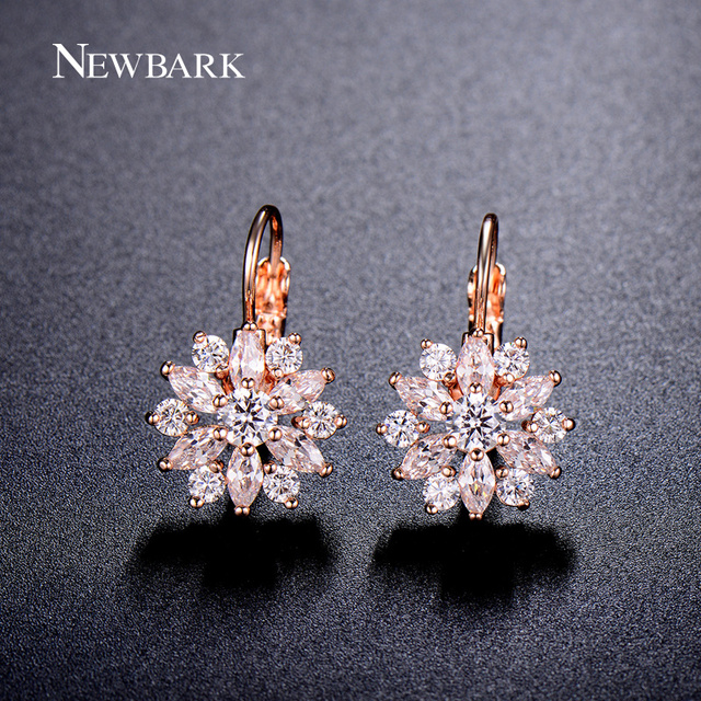 NEWBARK Luxury Ear Cuff Earrings For Women 6pcs Round And Marquise CZ Formed Brilliant Flower Stud Earrings Women Jewelry Gift