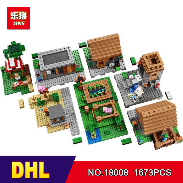 DHL LEPIN 18008 1673pcs Minecrafted My World Series Village Model Building Blocks Bricks Model Compatible 21128 Toys