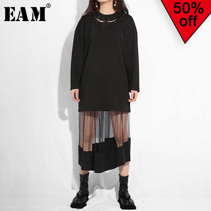 [EAM] 2019 новая осенне-зимняя бандажная повязка с круглым вырезом и длинными рукавами, Сетчатое платье в горошек с принтом из двух частей, женская модная одежда JO26