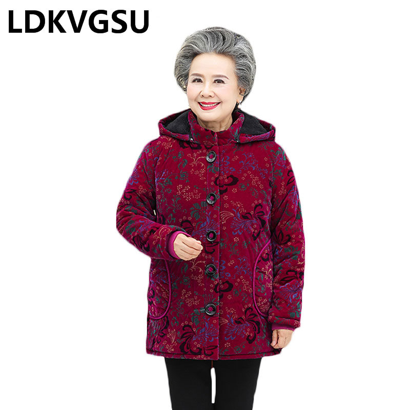 Old Aged Winter Plus Velvet Thick Corduroy Women Wadded Coat 2018 New Print Loose Plus Size 5XL Warm Hooded   Parkas   Is1370