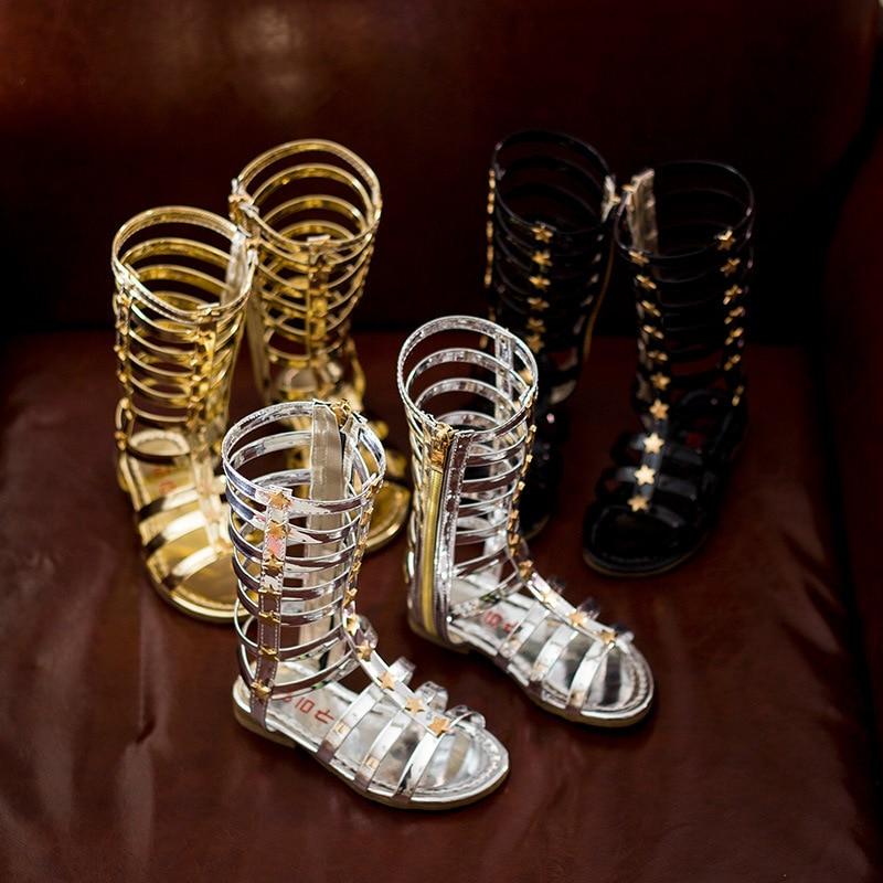 2016 letnie dziewczyny sandały dziecięce sandały kobiece dziecko wysokie gladiator fajne buty długi nit gaotong hot-sprzedaży mody wycięcie