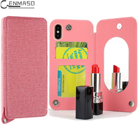 Fashion Girl Mirror Cover For Apple IPhone X 6s 7 Plus Case Luxury Denim Card Slot