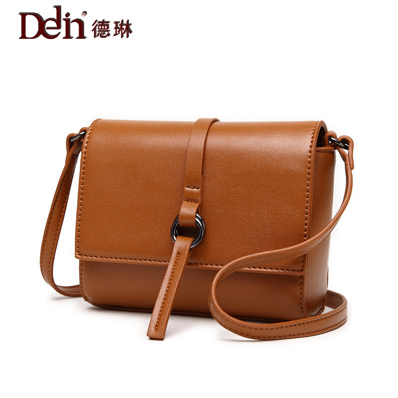 DELIN The  version of the new spring and summer 2017 simple Mini Bag Handbag Shoulder Messenger Bag retro buckle small bag the new spring and summer 2017 singles simple japanese variety diagonal bag bag leisure all match original bag