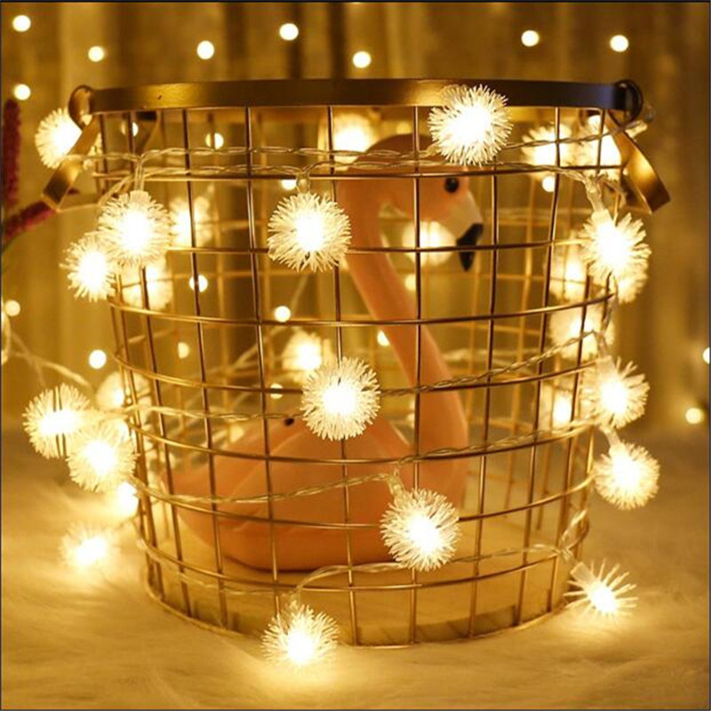 Snow Ball Led String Light 50LED 7.5M 220V EU/US Lamp Led String Bulb Waterproof Outdoor Decoration Christmas Fairy Light Chains