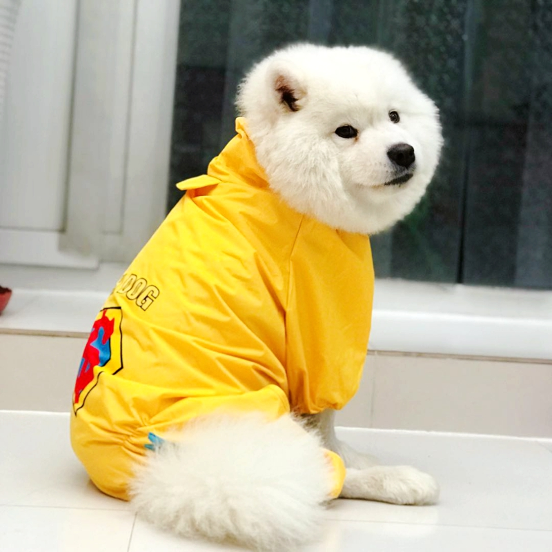 Cute Small Large Dog Raincoat Golden Retriever Raincoat For A Dog Waterproof Clothes Pet Jumpsuit Small Puppy Big Animal Goods