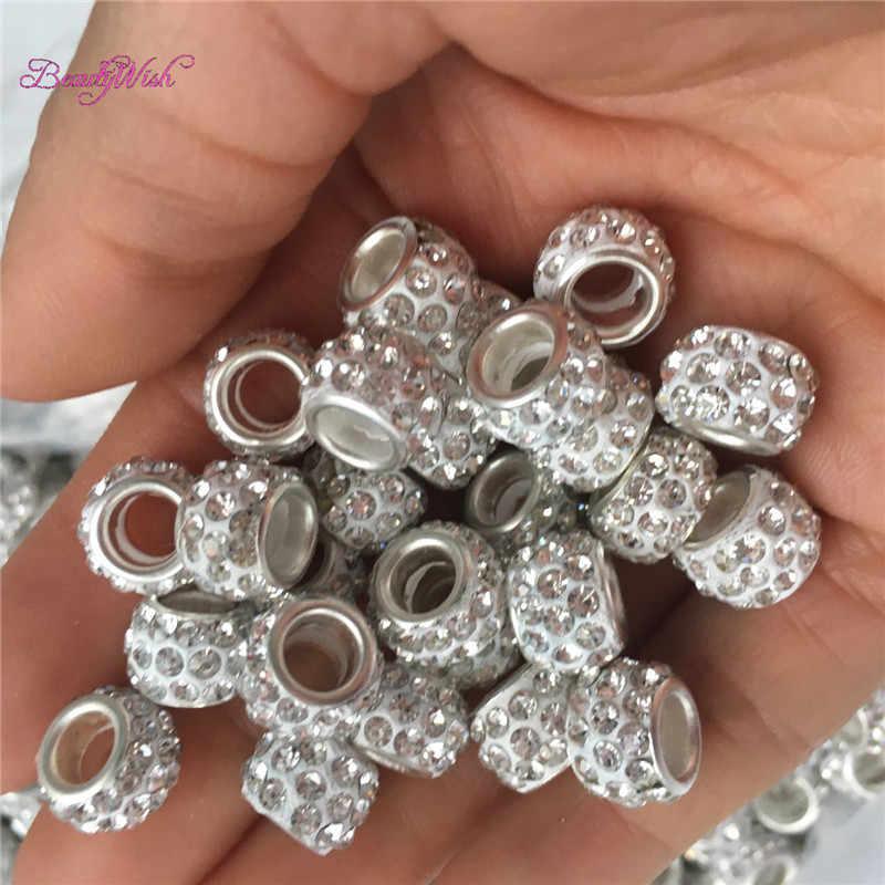 BeautyWish 60 шт. смешанный тип серебряные бусины для дредов регулируемые волосы кольцо для косички клип большое отверстие плетение шарик для волос