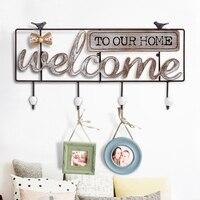 Vintage Wall Decoration Wooden Hanger Creative American Welcome Wooden Hook Storage Rack Holder Key Holder Home Decor Organizer