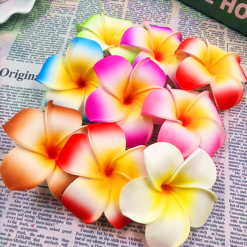 10PCS (7 cm/flower) artificial multicolor egg flower heads/PE foam Hawaiian vacation tire DIY wedding reception home decoration ...