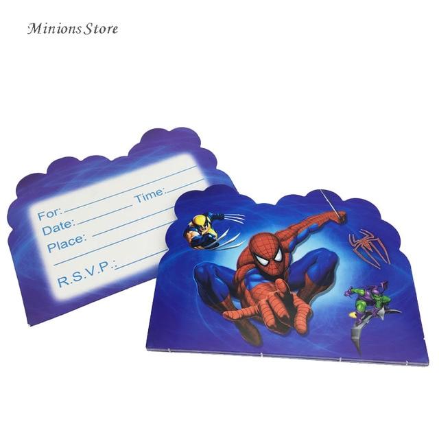 10pcslot Cartoon Invitation Cards Spiderman Theme Children Party