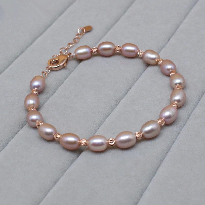 Hot 925 Sterling Silver 6-8mm Naturligt pärlarmband med sötvattens - Fina smycken - Foto 4