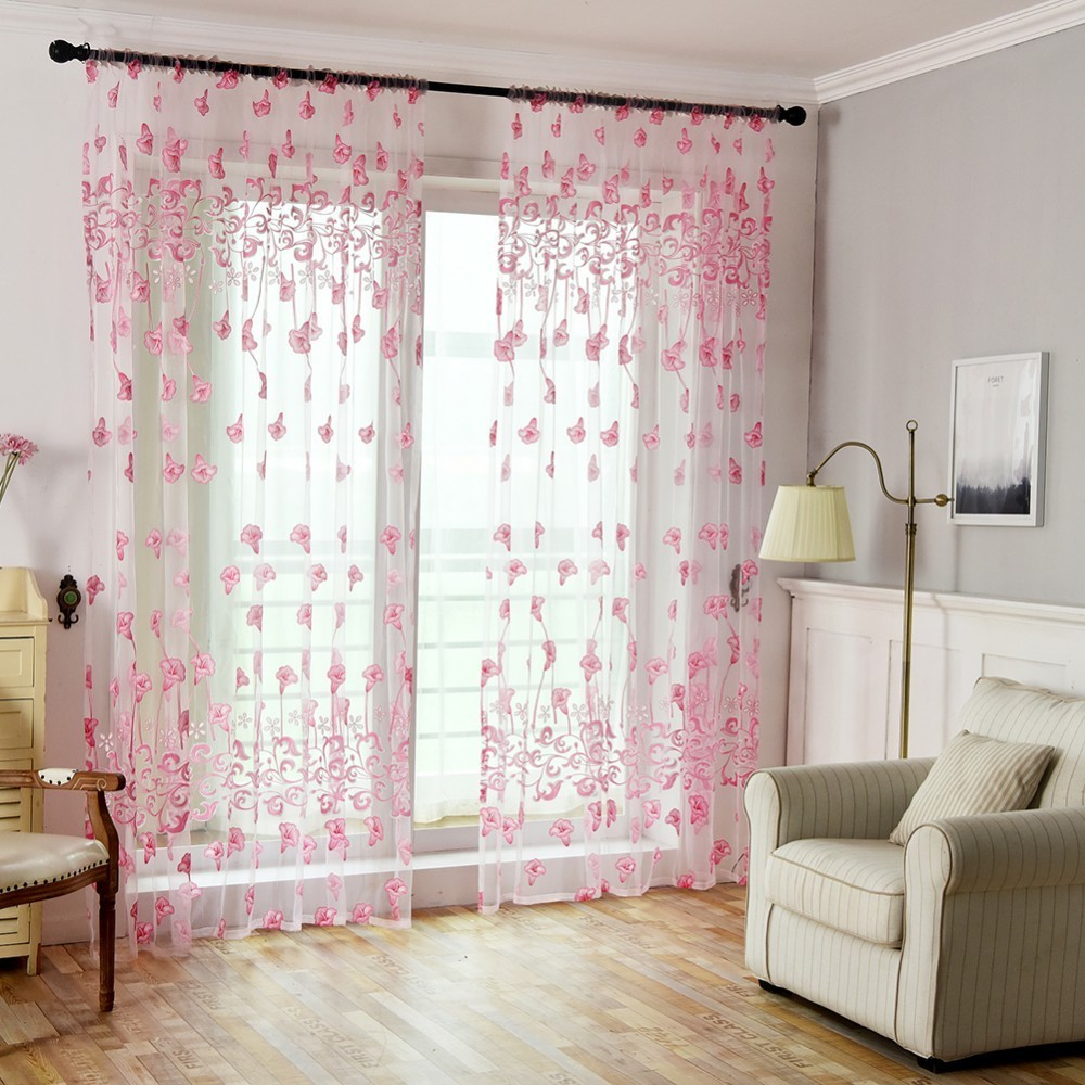 100 200cm Home Bedroom Decor Cheap Flower Curtains Ready