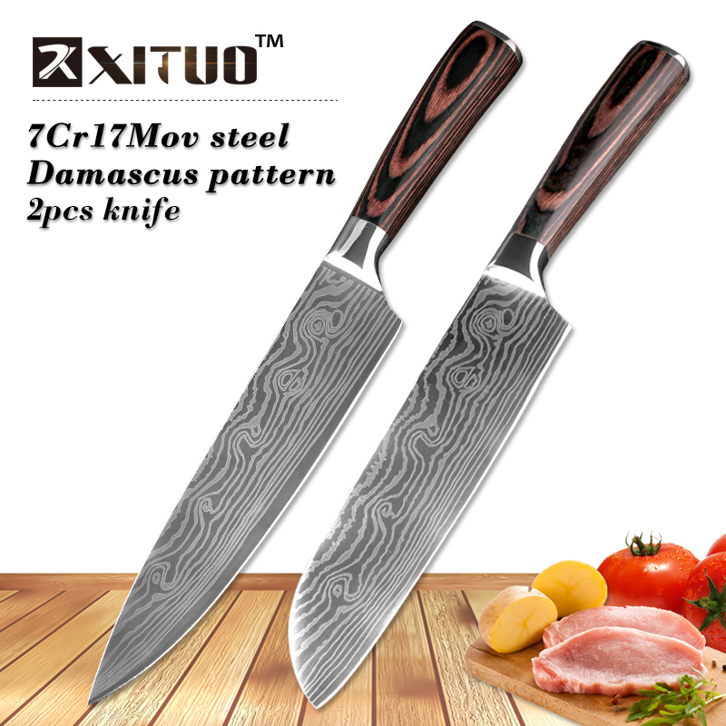 Xituo 2 pcs kitchen knives set 8 7 inch japanese chef for Kitchen set 7 in 1