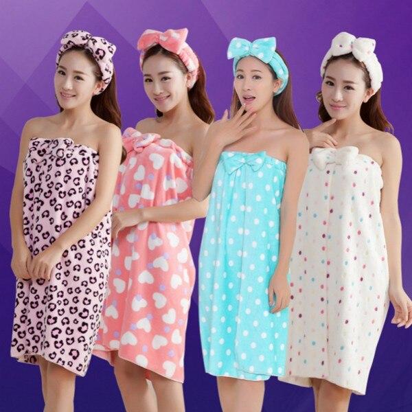 Absorbent Wrap Body Bath SPA Women Microfiber Bow Headband+Bath Towel Shower Hot Sale