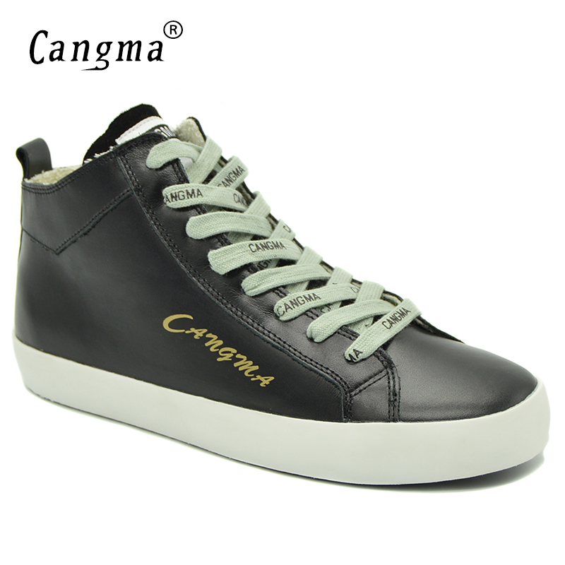 CANGMA Handmade Brand Sneakers Women Shoes Mid Black Female Footwear Ladies Casual Shoes Genuine Leather Leisure Lace Up Flats instantarts casual women s flats shoes emoji face puzzle pattern ladies lace up sneakers female lightweight mess fashion flats