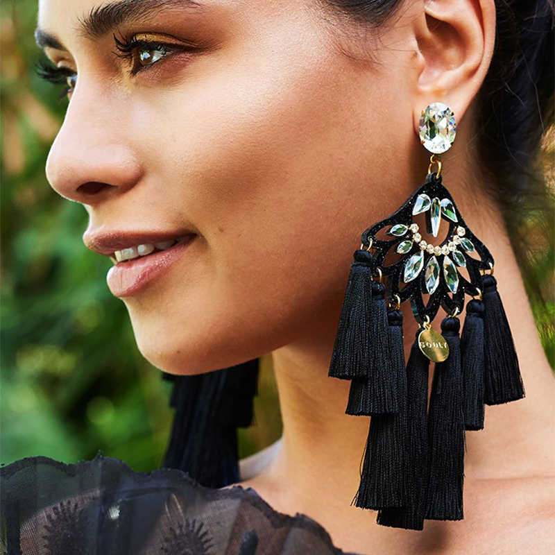 FASHIONSNOOPS 2018 Bohemian Wedding Drop Earrings Charm Earring Tassel Big Earring For Woman Handmade Large Brinco Ear Oorbellen