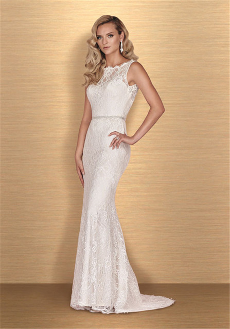 Bateau Neckline and Plunging Back French Chantilly Lace Wedding ...