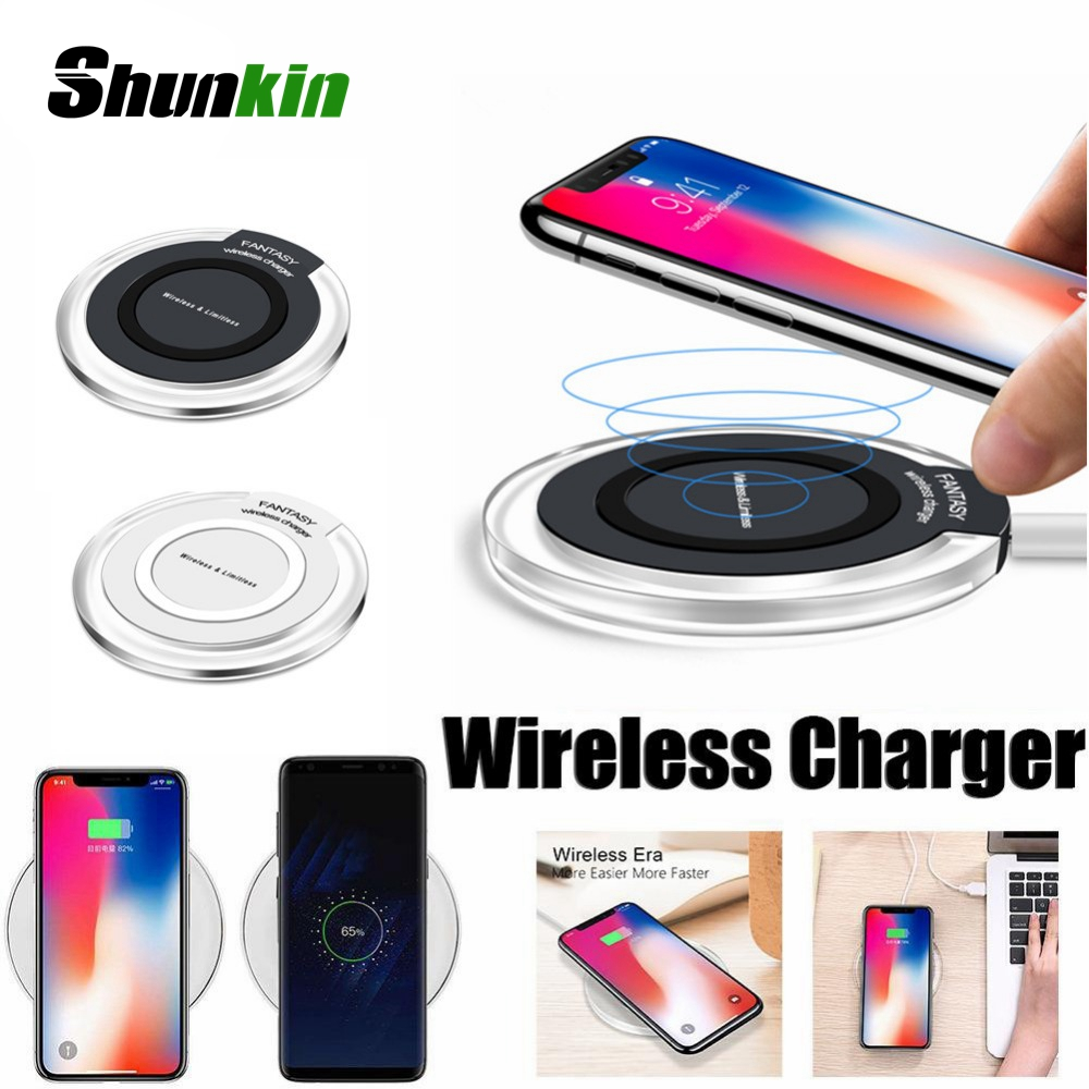 Qi Wireless Charger Ultra Thin Led Fast Charging Pad For