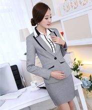 New Novelty Grey 2015 Autumn Winter Uniform Styles Female Work Suits With Tops And Skirt Ladies