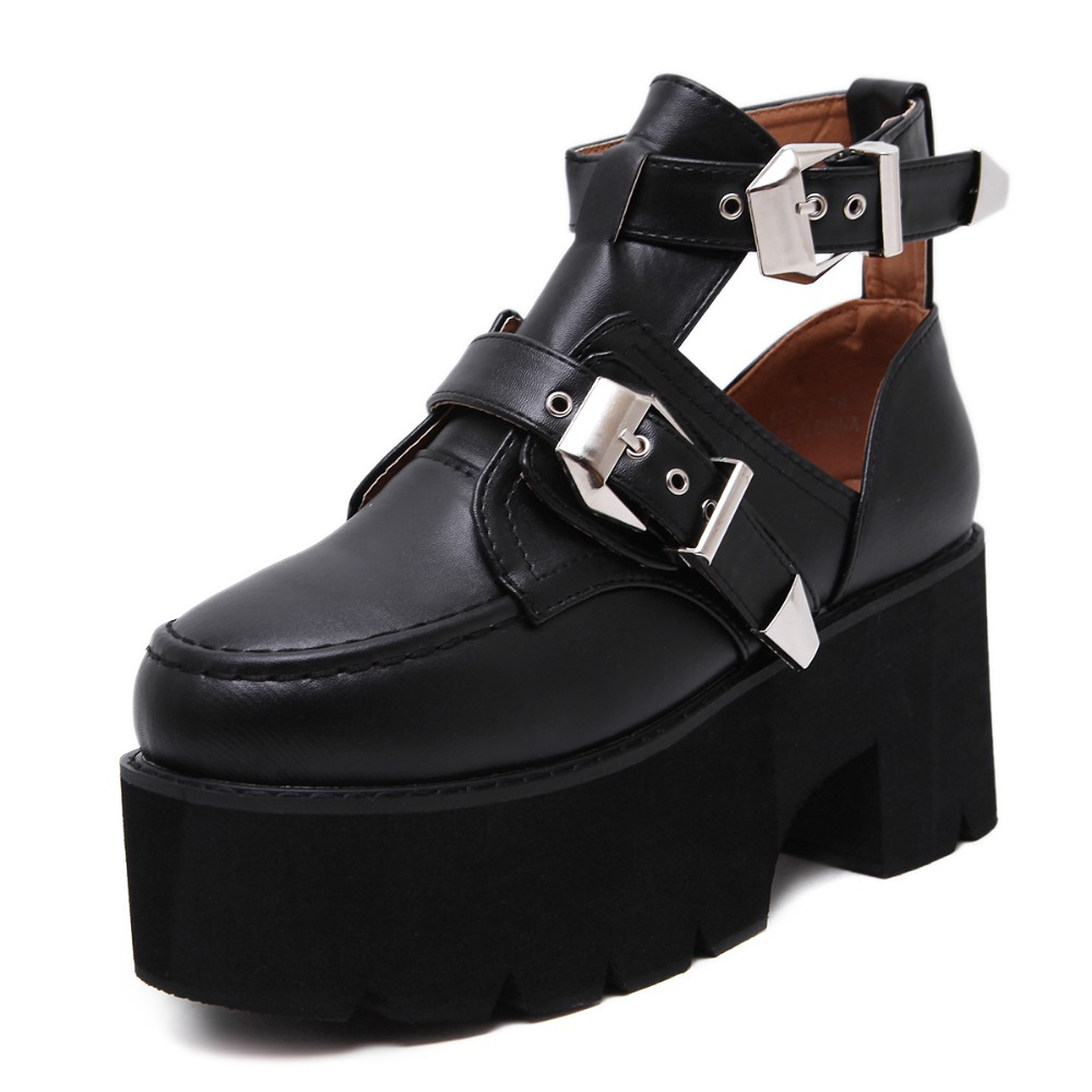 hongyi Preppy Style Student Shoes Rock Metal Buckle Strap Cut Out Ankle Strap Short Boots Platform
