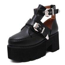 Hongyi roca zapatos del estudiante del estilo preppy correa de hebilla de metal fuera de la Correa Del Tobillo Botas Cortas de Tacón de Cuña de la Plataforma Sandalias de Punk zapatos