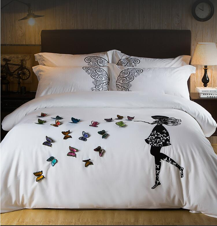 New Egyptian Cotton Luxury Bedding Set Butterfly