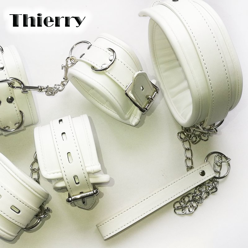 Thierry Luxury soft white Bondage Restraints set,collar wrist ankle cuffs for Fetish role play adult game,handcuffs Sex products smspade blue leather restraints wrist cuffs for adult sex soft and durable adjustable bondage handcuffs with metal chain