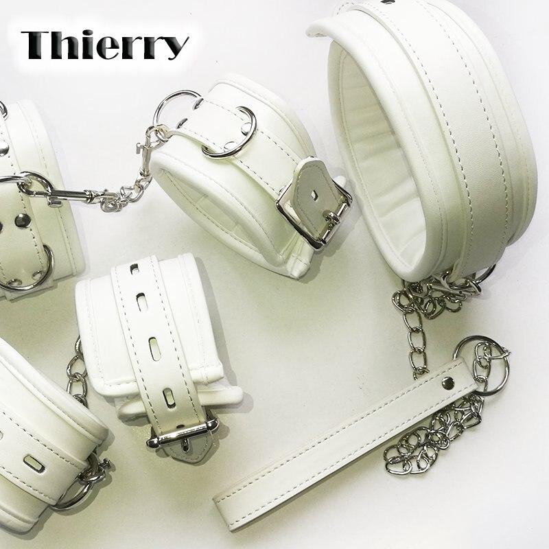Thierry Luxus weiche weiß Bondage Fesseln handschellen kragen handgelenk fußfesseln für Fetisch erotische spiele für erwachsene paar Sex produc