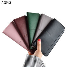 Купить с кэшбэком AOEO Slim Wallet Female Minimalist Design Super Thin 7mm Candy Color PU Leather Ladies Purse Money Bag Simple women wallets Girl