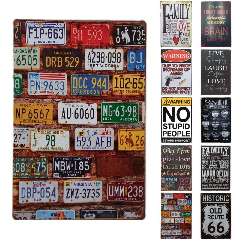 Retro Tin SignLicense plate number iron Plaque Bar/Cafe/Club/Gallery Wall Sticker Decorative Painting Decorations 20x30cm R1