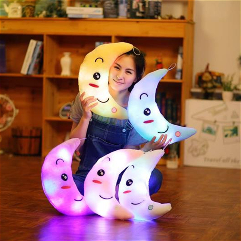 New 35cm Colorful Moon Shape Plush Toys Luminous Glowing LED Light Pillow Soft Stuffed Lovely Kids Toy Birthday Gift