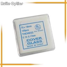 Accesorios 100 unids 18x18mm Cubierta Microscopio microscopio cubreobjetos De Vidrio para la preparación de la muestra