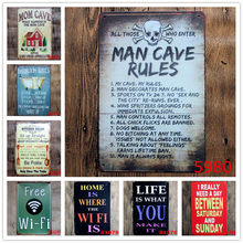 MAN CAVE RULES Retro Plaque Metal Plates Bar Pub Club Home Wall Decor ART Poster Vintage Decorative Signs Gift for Man N129(China)