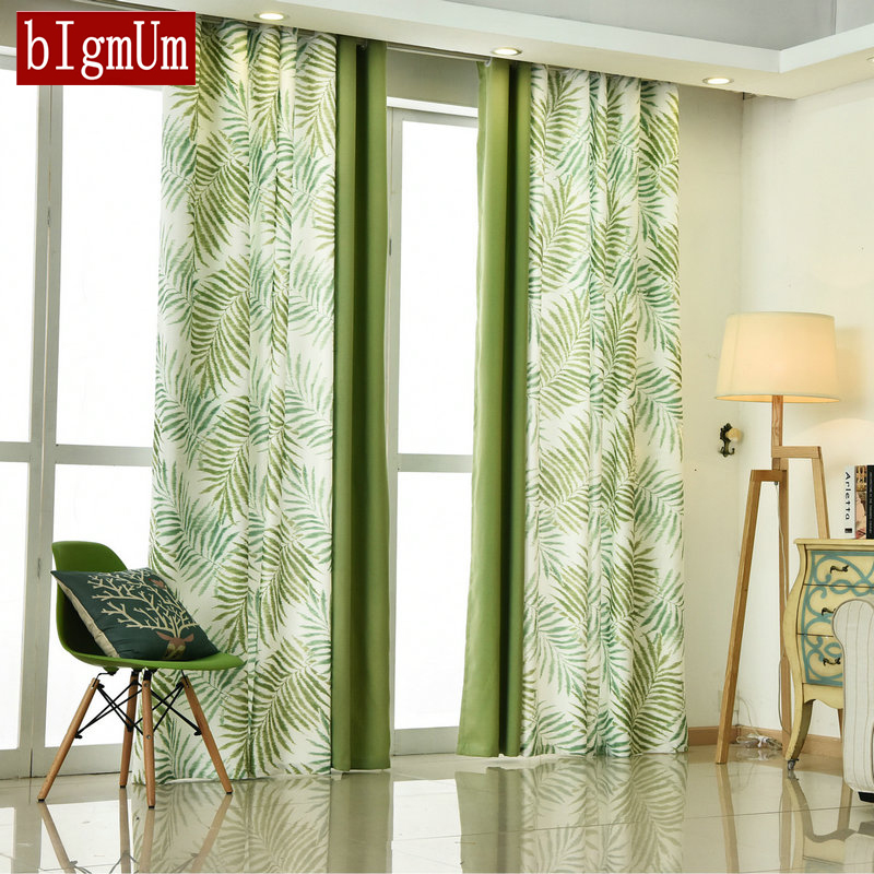 BIgmUm Bedroom Curtain Pastoral Style Leaves Pattern Country Printed Floral Green Curtains For