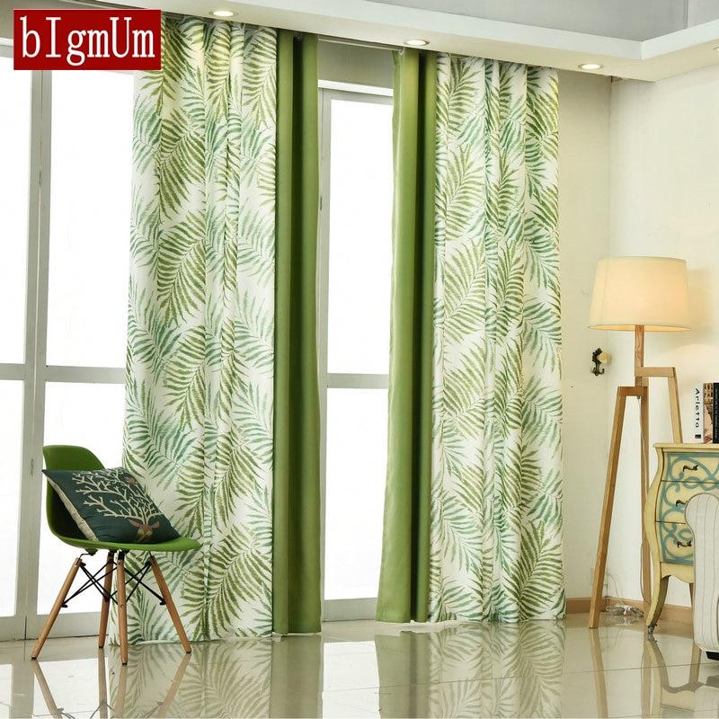 bigmum bedroom curtain pastoral style leaves pattern. Black Bedroom Furniture Sets. Home Design Ideas