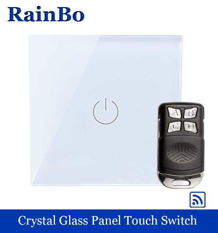 rainbo Crystal Glass Panel Switch Wall Switch EU Touch Switch Screen Wall Light Switch 1gang1way 110~250V LED lamp A1913W/BR01 2017 smart home crystal glass panel wall switch wireless remote light switch us 1 gang wall light touch switch with controller