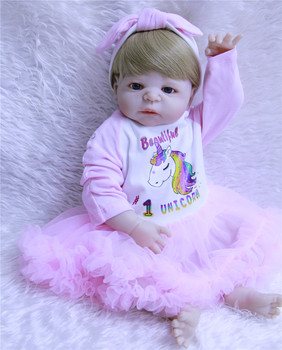 "Bebes reborn NPKCOLLECTION brand  22"" Full silicone reborn baby girl dolls for children birthday gift fake baby doll silicone"