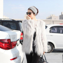 Winter Faux Fur Coat Women 2016 Mid Lenght Warm Winter Jacket Long Sleeve Artificial Fur Coat