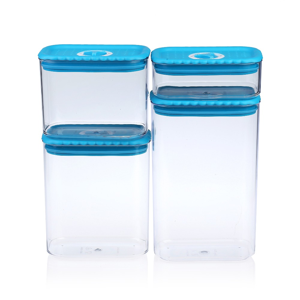 4pcs Kitchen Canister Set Sealed Plastic Food Storage Container with ...