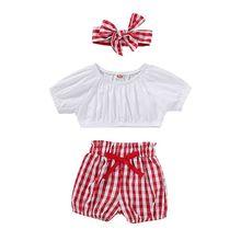 цены 3PCS Newborn Infant Baby Girls Clothes Crop Tops + Plaid Shorts Pants Headband Outfits Set