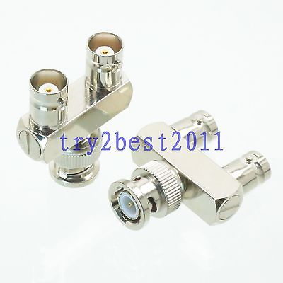 Good Quality 1pce Adapter connector BNC plug pin to 2x BNC jack pin Y Splitter RF COAXIAL bnc м клемма каркам