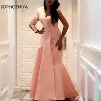 Новое поступление одно плечо розовые вечерние платья 2019 abendkleider Дубай Кафтан Вечернее платье Дешевые торжественное платье халат soiree