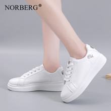 NORBERG Women Casual Shoes 2019 New Women Sneakers Fashion Breathable PU Leather Platform White Women Shoes Soft Student shoes new fashion women white shoes flats platform student female korean soft casual rubber lace up pu leather joker superstar ks 508