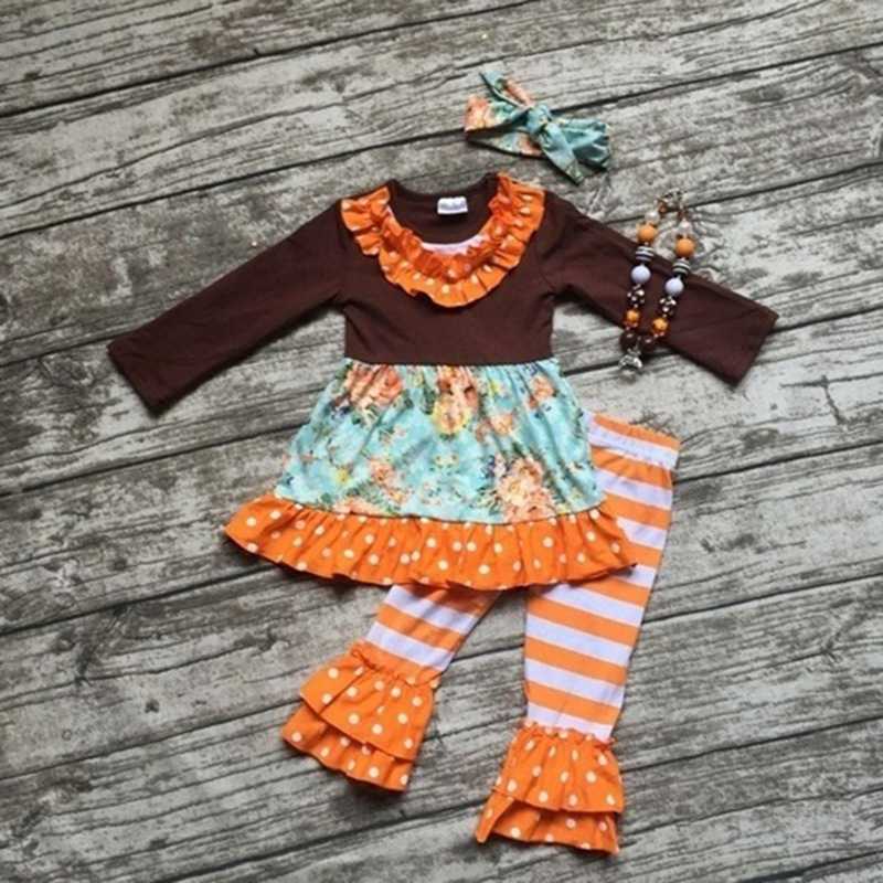 2017 girls clothes set Fall Winter Girls Boutique Outfits Lace Top Orange Ruffle Pant Wholesale Children kid Clothing Sets