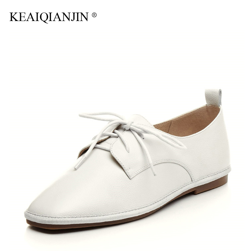 KEAIQIANJIN Woman Genuine Leather Oxfords Plus Size 33 - 42 Spring Autumn Fringe Shoes White Flats Genuine Leather Loafers lovexss oxford shoes 2017 spring autumn toe lace up white woman flats genuine leather derby shoes women big size 33 42 oxfords