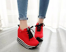 HOT Breathable Casual Shoes Women Shoes Lace Up Height Increasing 9.5 cm High Platform Women's Shoes Trainer Sapato Feminino
