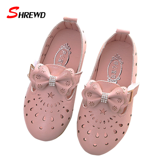 Girl Kids Shoes 2017 Spring New Fashion Bow Hollow Pattern Girls Leather Shoes Solid Cute Children Shoes Insole 16-18.2cm 9682W