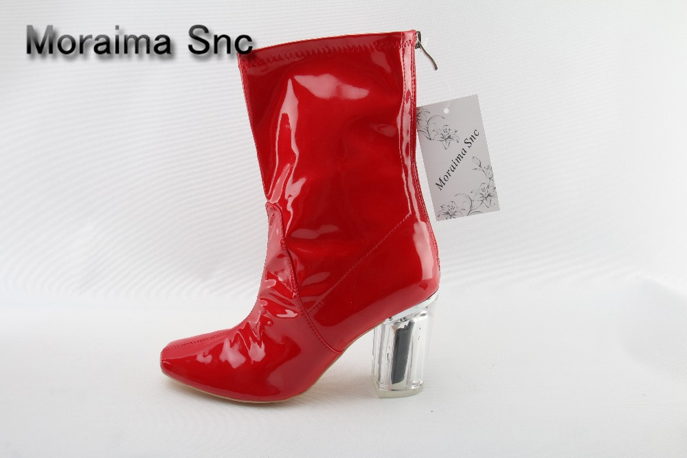 Moraima Snc red boots Transparent high heels boots women square toe mid-calf rainboots sexy ankle boots for women bottine femme moraima snc red boots transparent high heels boots women square toe mid calf rainboots sexy ankle boots for women bottine femme