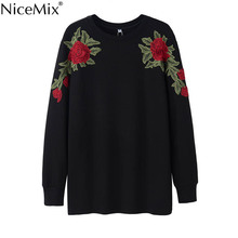 NiceMix 2017 Autumn Winter Harajuku Moletom Sweatshirt Women Elegant Flower Embroidery Loose Long Hoodies Femme 29034
