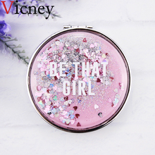 Vicney Makeup Mirror Portable Double-Sided Folding Cosmetic Mirror Female Gift With flowing sparkling sand Compact Pocket Mirror недорого
